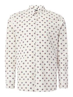 Crome Japanese Floral Print Cotton Shirt