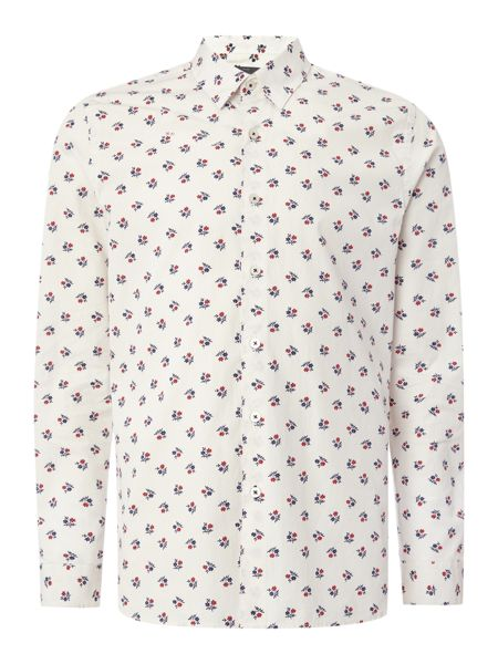 Peter Werth Crome Japanese Floral Print Cotton Shirt