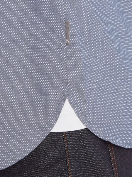 Peter Werth Edwin Pin Dot Shirt with Grandad Collar