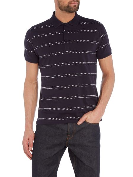 Peter Werth Ellsworth Dot Stripe Cotton Polo Shirt