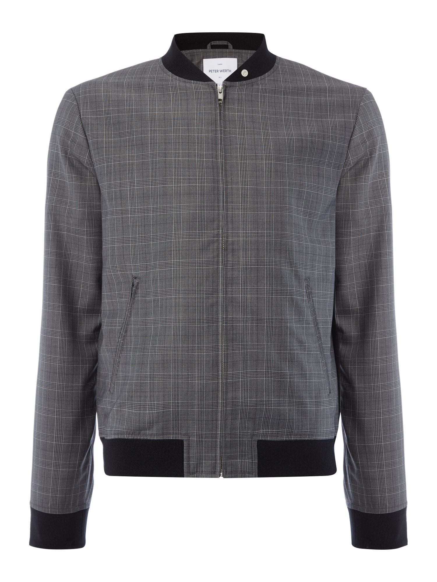 Men's Vintage Style Coats and Jackets Mens Peter Werth Rogers Wool Mix Check Bomber Jacket Grey £64.00 AT vintagedancer.com