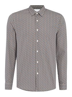 Gray Leaf Printed Cotton Shirt