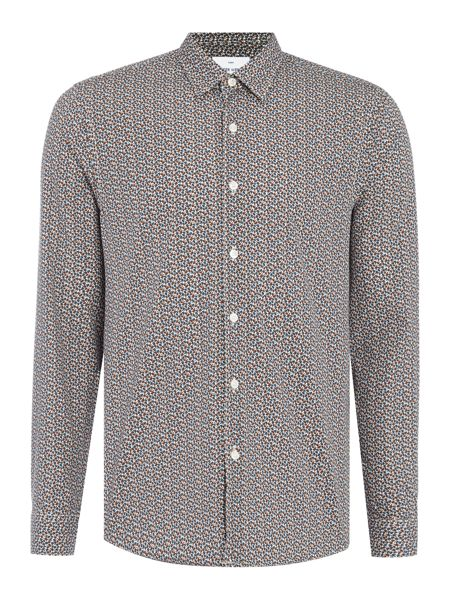 Peter Werth Gray Leaf Printed Cotton Shirt