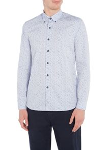 Peter Werth Ripple Printed Cotton Mix Shirt