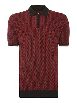 Naval Colour Chain Knitted Cotton Polo
