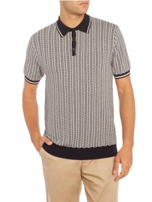 Peter Werth Naval Colour Chain Knitted Cotton Polo