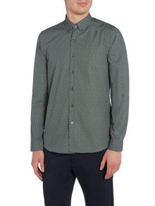 Peter Werth Calder Micro Geometric Printed Shirt