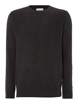 Buddy Zig Zag Knitted Cotton Crew Neck