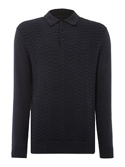 Pierson Zig Zag Knitted Polo Shirt