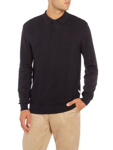Peter Werth Pierson Zig Zag Knitted Polo Shirt