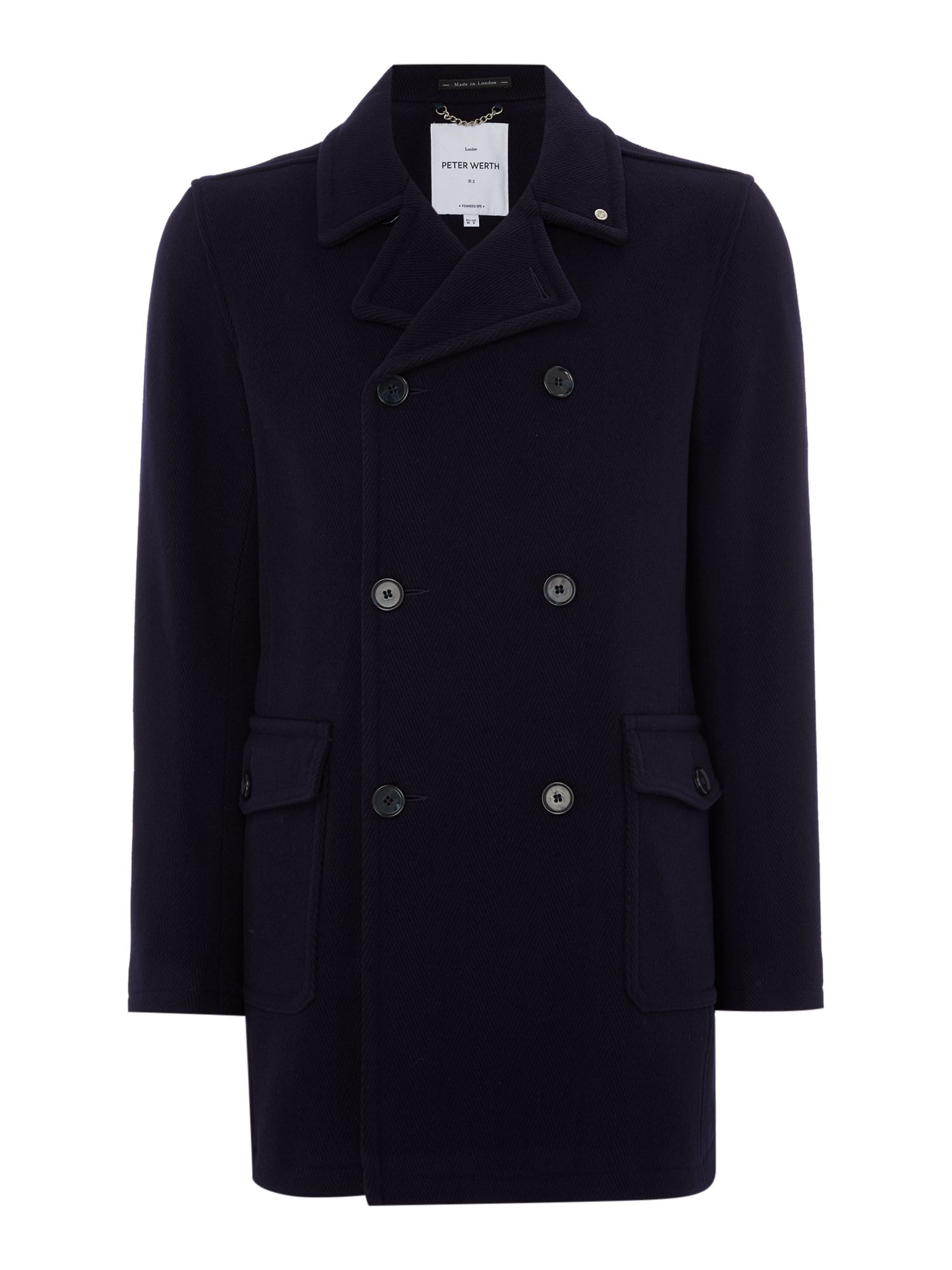 Mens Peter Werth Walney Baker Double Breasted Jacket Navy