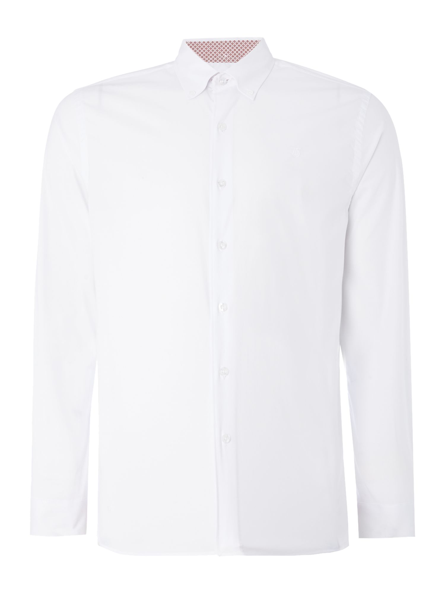 Men's Peter Werth Project Cotton Shirt With Printed Trim, White.