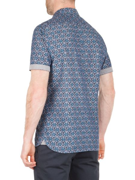 Racing Green Sacks tile print short sleeved shirt