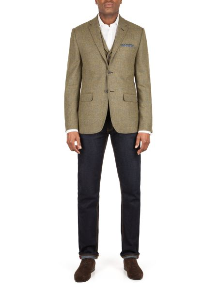 Racing Green Wright herringbone tailored jacket