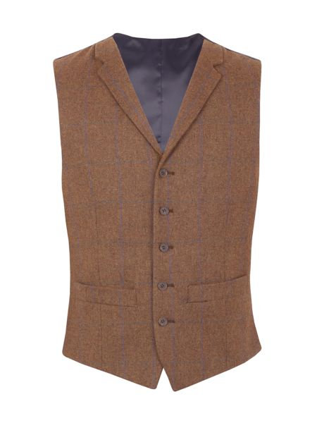 Aston & Gunn Oakworth check tailored waistcoat