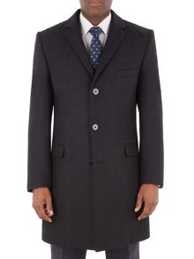 Aston & Gunn Read Navy Herringbone Overcoat