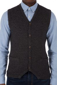 Racing Green Gospel Button Through Lambswool Blend Vest