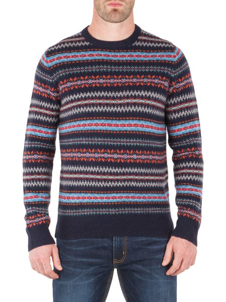 Racing Green Douglas V Neck Fairisle Jumper
