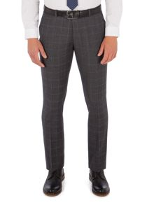 Ben Sherman Grey With Blue Overcheck Camden Trousers