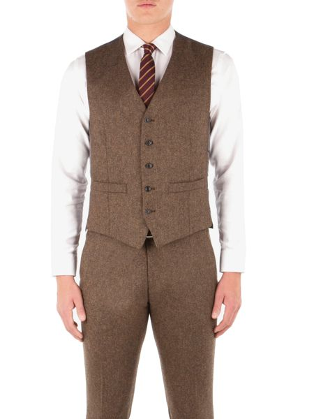 Ben Sherman Antique Gold British Tweed Waistcoat