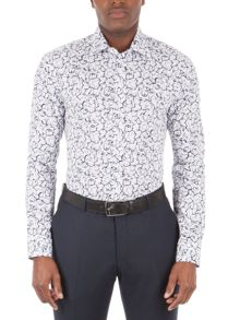 Alexandre of England White Blue rose Outline Shirt