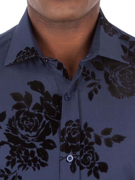 Alexandre of England NAVY FLOCKED ROSE SHIRT