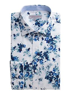 White Blue Floral Shirt