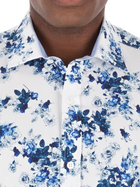 Alexandre of England White Blue Floral Shirt