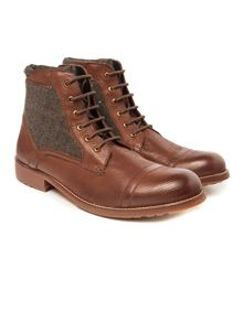 Racing Green Merchant Mid-Brown Toe Cap Boot