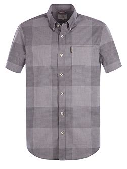 Short Sleeve Textured Micro Gingham