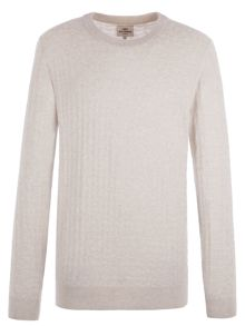Ben Sherman Pique Textured Jaquard Crew Neck Jumper