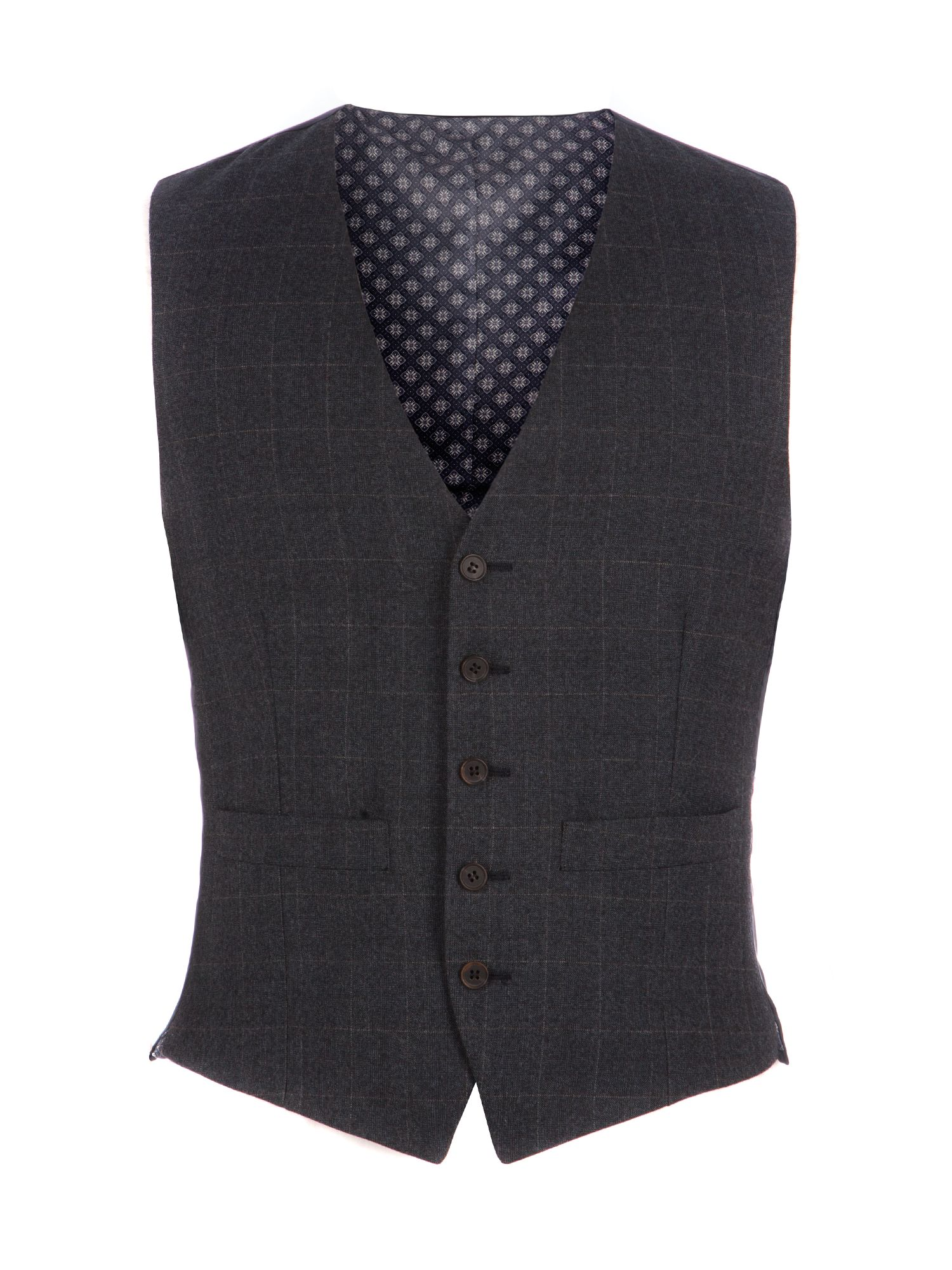 Men's Racing Green Fratton Navy Charcoal Check Waistcoat, Navy
