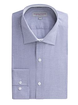 Navy Jaspe Micro Check Shirt