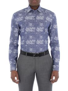 Alexandre of England Navy Floral Jacquard Shirt