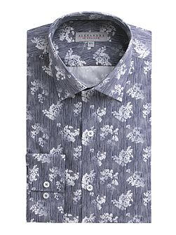 Navy Floral Stripe Shirt