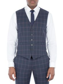 Racing Green Amport Navy Check Waistcoat