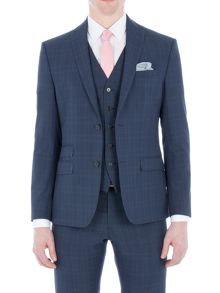 Limehaus Faraday Blue Check Slim Fit Jacket