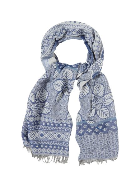 White Stuff Temple Patched Jacquard Scarf