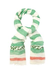 White Stuff Embroidery Detail Stripe Scarf