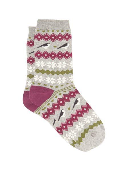 White Stuff Rosie The Robin Fairisle Sock