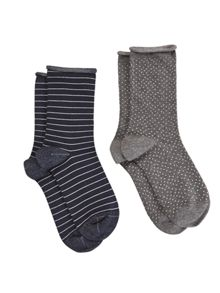 White Stuff Mini Lurex Spot 2 Pack Sock