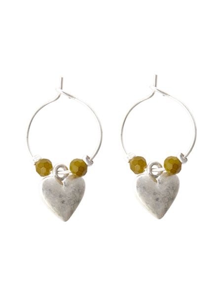 White Stuff Heart And Bead Hoop Earring