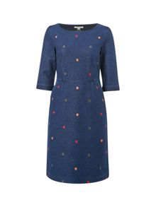White Stuff Rye Denim Spot Jersey Dress