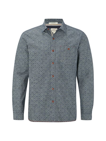 White Stuff Yasur chambray print long sleeve shirt