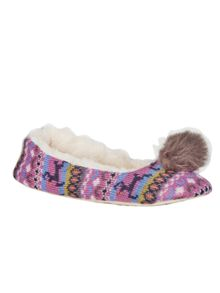 White Stuff Fur Pom Fairisle Ballerina