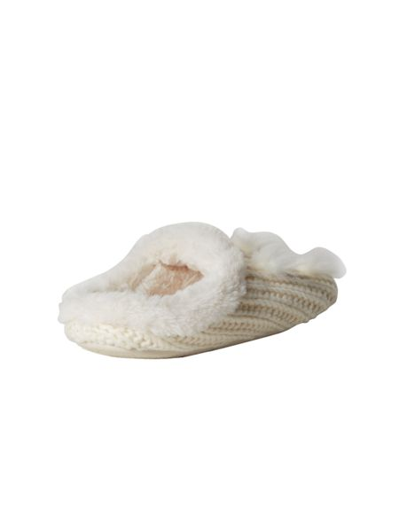 White Stuff Chunky Cable Fur Mule
