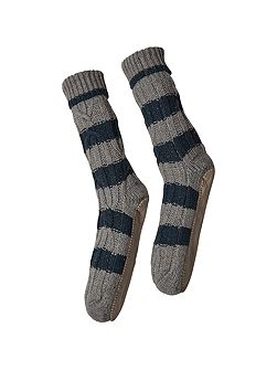 Mens Cable Slipper Sock