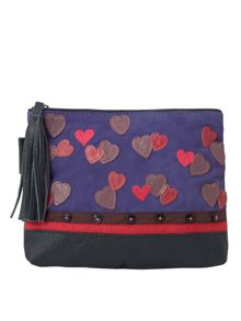 White Stuff Neon Hearts Make Up Bag