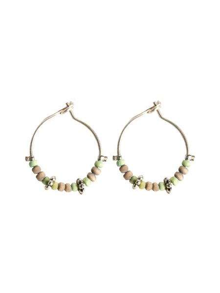 White Stuff Bead Hoop Earring