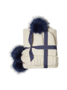 White Stuff Rennie Fur Pom Hat & Scarf Set